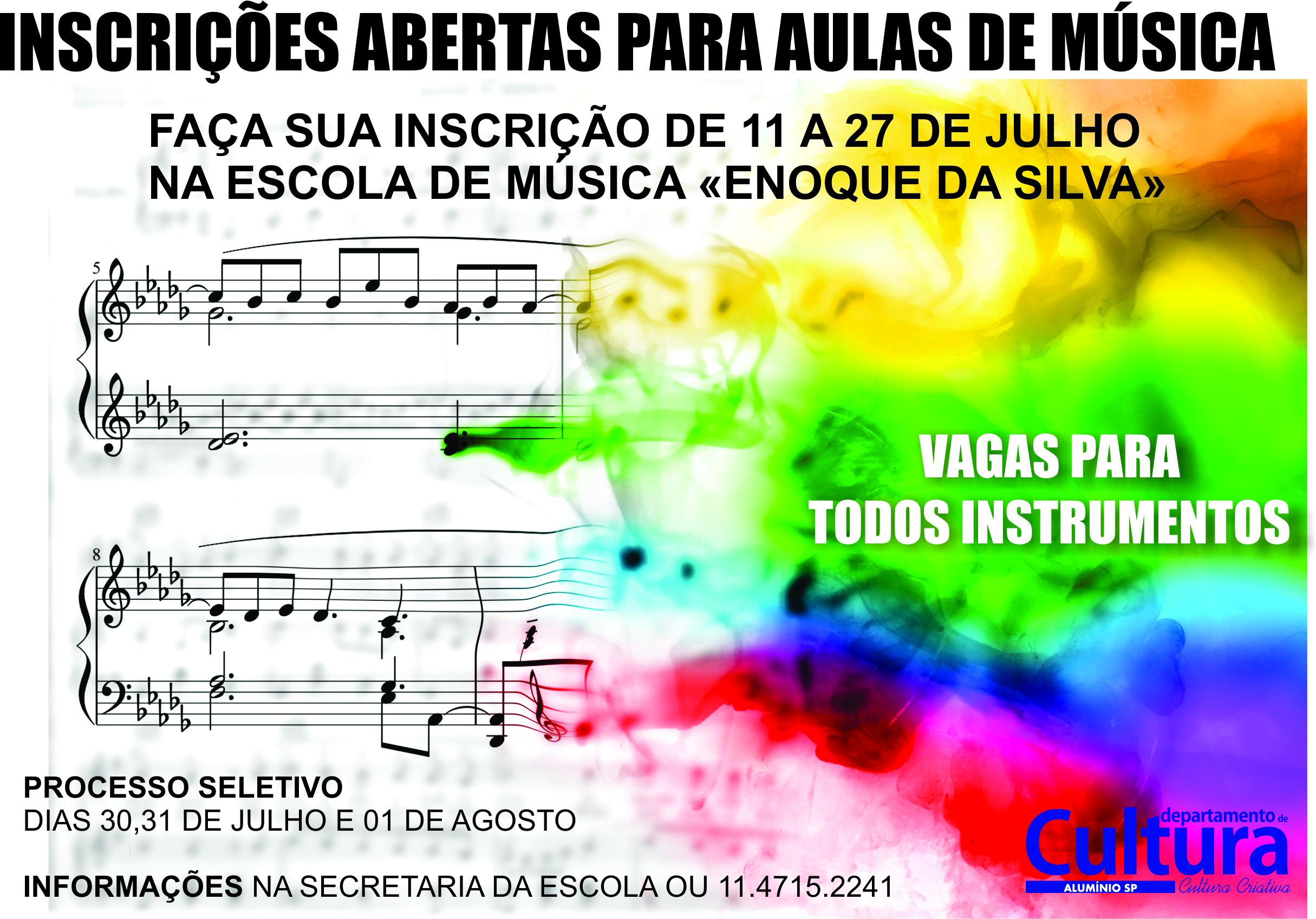 VAGAS AULAS MUSICA SEGUNDO SEMESTRE