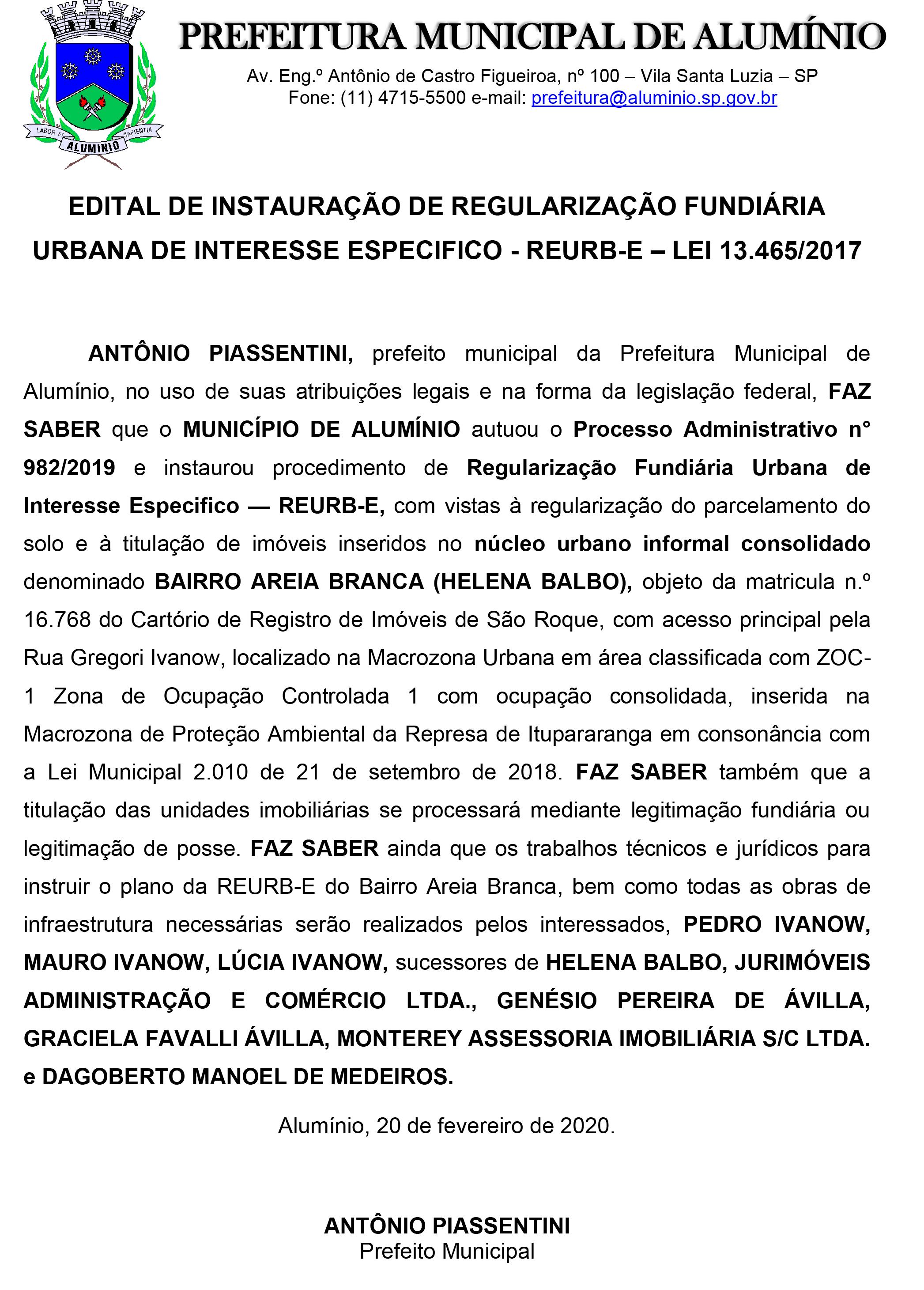 EDITAL DE INSTAURAÇÃO DE PROCESSO DE REGULARIZAÇÃO FUNDIÁRIA