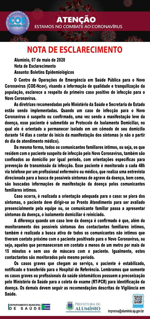 NOTA COE 1 CASO CORONA VIRUS