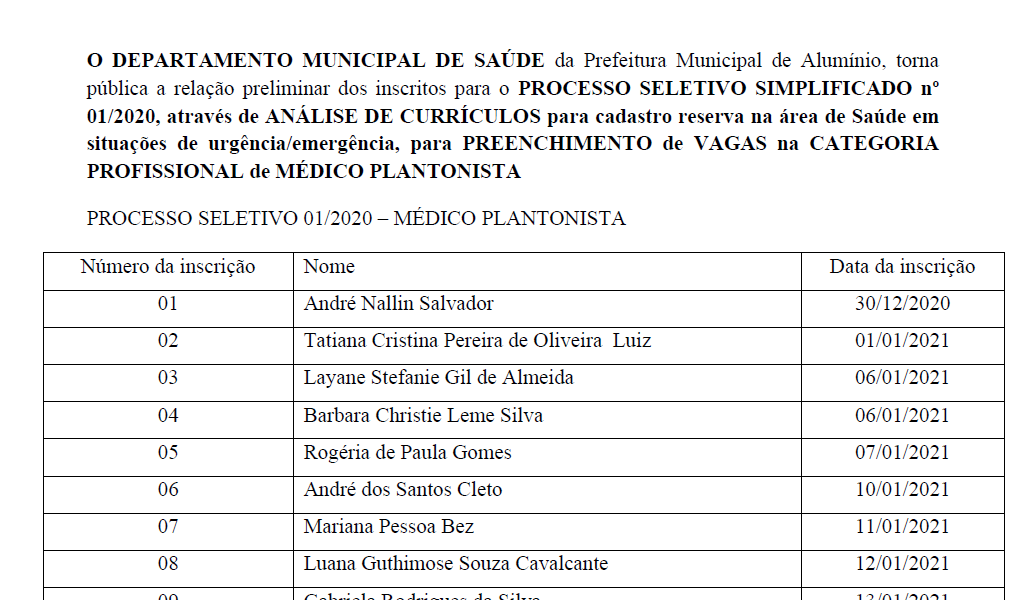 relação preliminar dos inscritos para o PROCESSO SELETIVO SIMPLIFICADO nº 01-2020