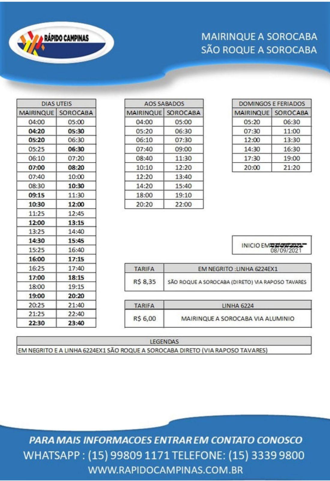 RAPIDO CAMPINAS 08-09-2021 mairinque a sorocaba - sao roque a sorocaba