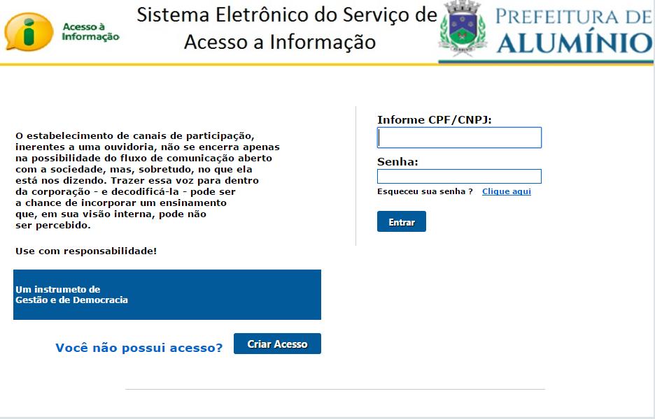 tela inicial de acesso ao sistema