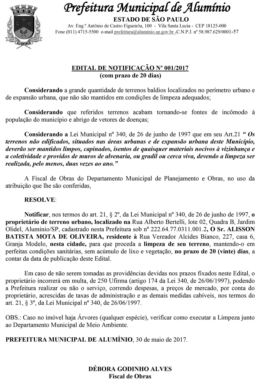 PREFEITURA MUNICIPAL DE ALUMÍNIO