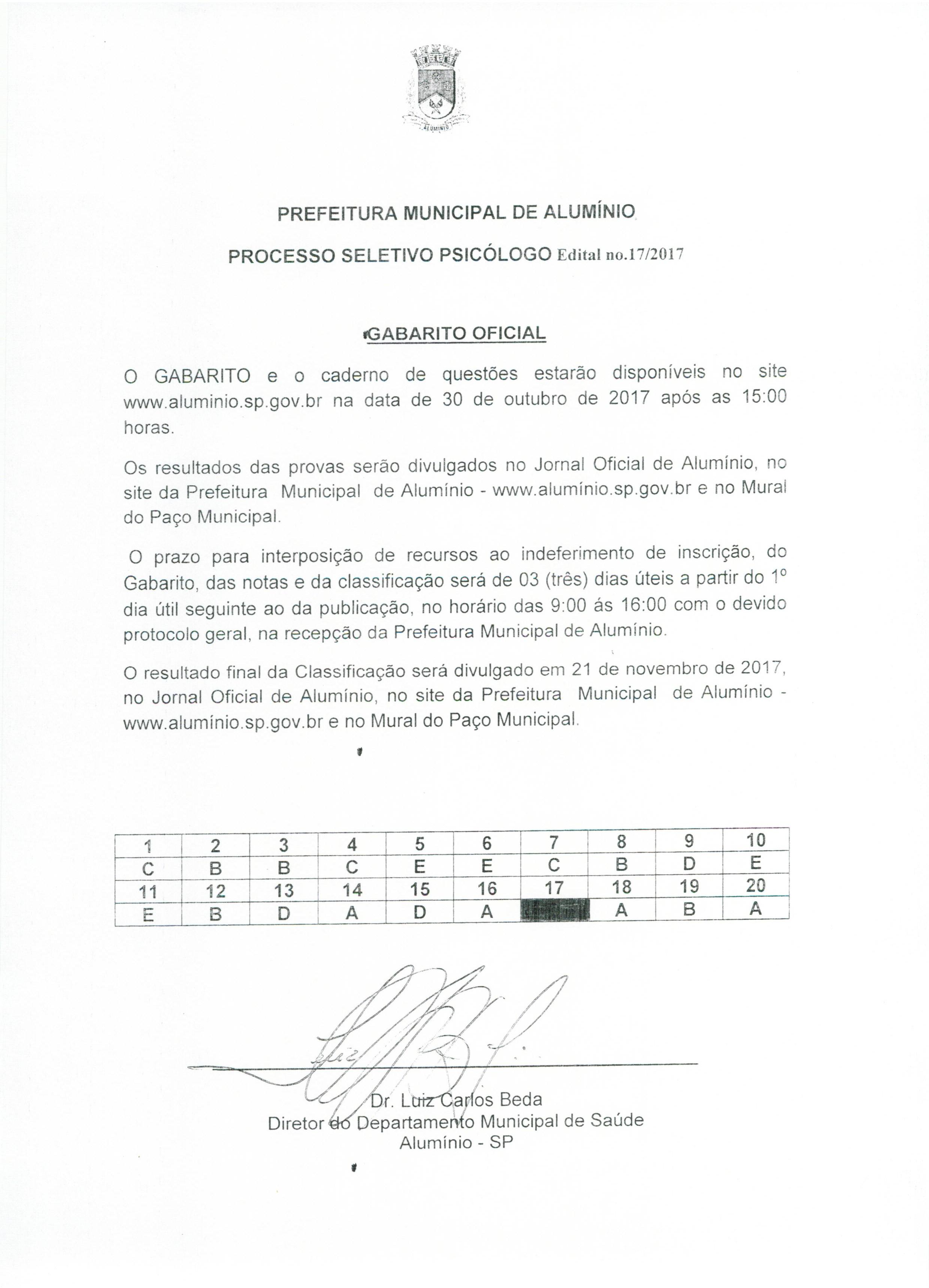 Gabarito Oficial Processo Seletivo - Psicologo