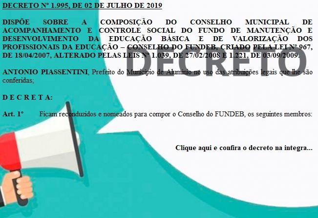 DECRETO Nº 1995-2019 - Dispõe sobre a composição do FUNDEB