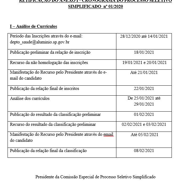 RETIFICAÇÃO DO ANEXO I - CRONOGRAMA DO PROCESSO SELETIVO SIMPLIFICADO nº 01-2020