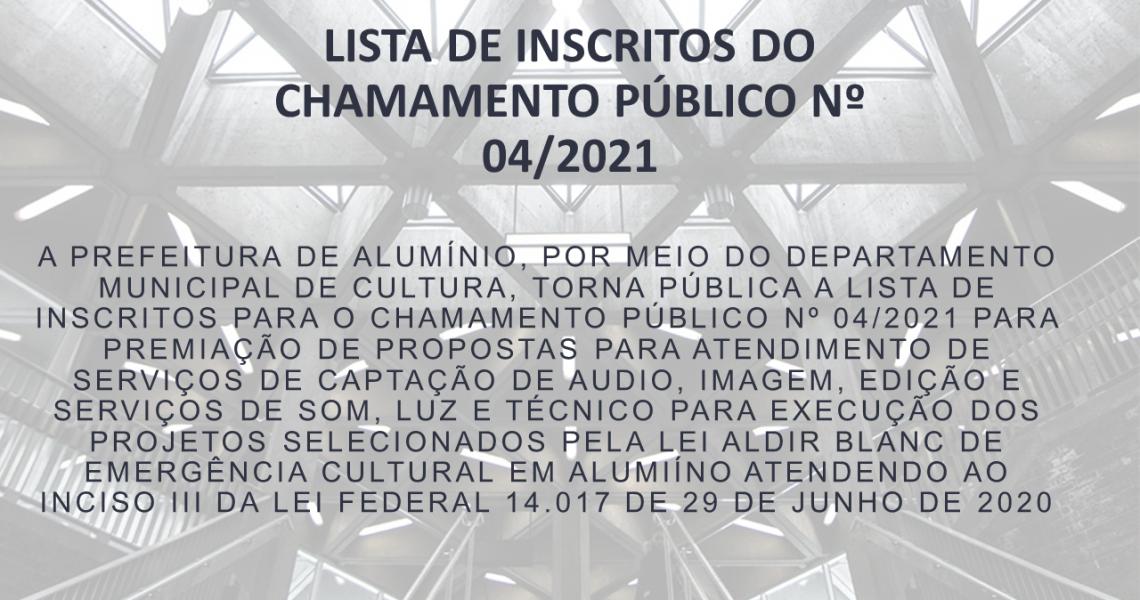 LISTA DE INSCRITOS DO CHAMAMENTO PÚBLICO Nº 04